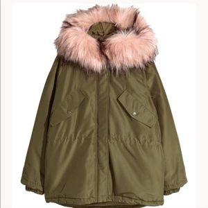 H&M Faux fur hood Olive parka S